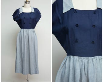 Vintage 1940s Dress • By Your Side • Navy Blue Houndstooth Late 40s Dress Size Small