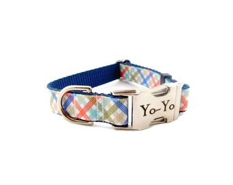 Personalized Dog Collar, Boy Collar in Blue Plaid Preppy Print- Metal Buckle Collar with Pet ID