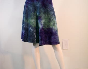 Plus size 1X 1/2 circle skirt in  tie dye bamboo blend fabric.