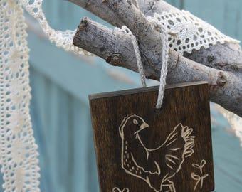 Henrietta the backyard hen woodblock ornament