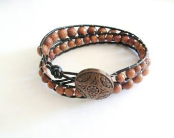 Wrap Bracelet, Goldstone Double Wrap Bracelet,Leather Bracelet-Double Wrap Leather  Bracelet-Leather Goldstone Bracelet-Double Leather Wrap
