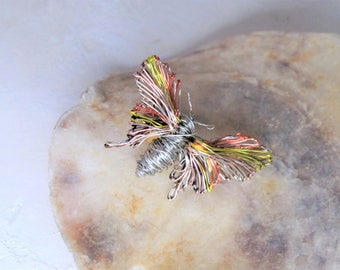 Silver insect, wire butterfly brooch, cute pin, orange, lemon yellow, modern hippie, colorful, art jewelry, teacher Christmas gift for women