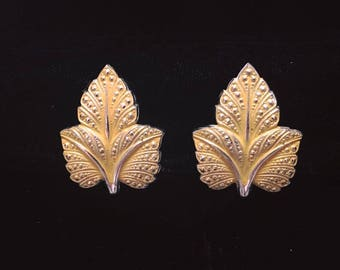 60s/70s West Germany Yellow Leaf Clip-on Earrings