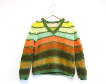 Vintage 1960s Sweater   Striped Knit 1960s Mohair Sweater   size medium