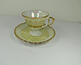 Vintage LACE RiM TEA CUP Iridescent Lustreware Gold Trim Japan