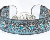 Custom for Twiggy. Martingale Leather Dog Collar, Leather Chain Collar. Turquoise Leather Collar, Training Collar,