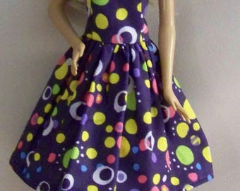Handmade Barbie Doll Clothes-Purple with Multi Colored Dots Barbie Dress