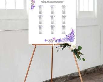 Seating Chart on Foam Core - Lavender Dreams/Purples and Vines (Style 0003)