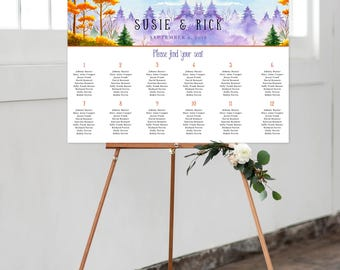 Digital Digital Reception Seating Chart, Wedding Reception Sign, Day Of Stationery - Summer's End (Style 0033)