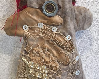 Hand Puppet,Grunge,Boho,Story Telling,Puppet Show,Entertainer,Puppet show,One of a Kind Puppet,Steampunk,Handcrafted,Unique design,Raw Art