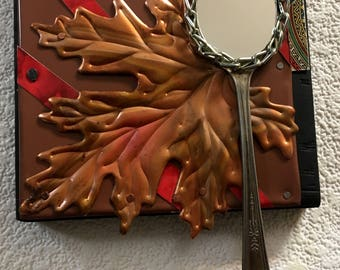 Up North,Copper oak leaf upcycled wall mirror,Salvage art,metal collage,assemblage,recycled,entryway mirror,cabin decor,one of a kind mirror