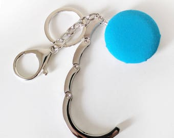 Handbag Hook Key Ring and Bag Charm, Purse Hook Hanger Key chain, Bag Hook, Folding Purse Hanger in Blue
