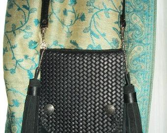 Leather/Suede Black Crossbody Bag