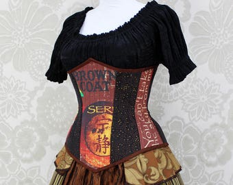"Firefly Steampunk Steel Boned Underbust Corset - Solid Front, Serenity Print/Black/Copper- Corset Size 24, Best Fits Waist 27""-29"""