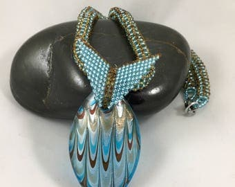 Glass Pendant Necklace, Beaded Rope Necklace, Seed Bead Rope, Blue and Brown Bead Jewelry, Jewelry Gifts for Her, One of a Kind, Nickel Free