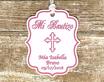 Mi Bautizo - 20 CUSTOM Baptism Thank you tags/Christening/Baptism/Dedication/Pink Cross/Spanish