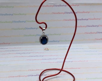 Sterling Silver, Charm Pendant, Oval with Halo, Simulated Sapphire, Simulated Diamond, Component Element, September Birthstone