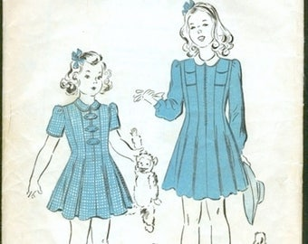 Adorable Vintage 1940s Advance 2839 WWII Style Girls Princess Dress, Long or Short Sleeves Sewing Pattern Size 8