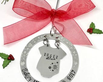 Baby's First Christmas Ornament - Hand Lettering Style Baby Ornament - Custom Baby Ornaments - Hand Stamped Ornaments - The Charmed Wife