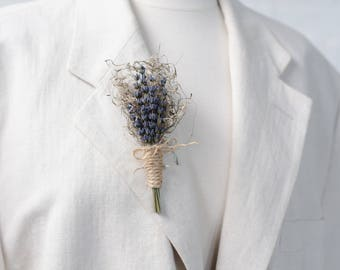 Lavender & Moss Rustic Boutonniere Grooms Wedding Accessory / Lapel Pin - Real Dried Flowers
