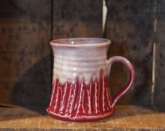 Carved mug in Cranberry Frost by Village Pottery Prince Edward Island PEI