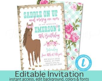 Horse Birthday Invitation, Western Horse Invitation, Editable Birthday invite template, Country Girl Horse Invitation, Instant Download