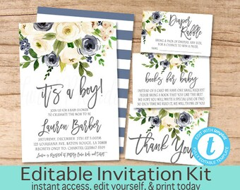 Baby boy shower invitation etsy nz baby boy shower invitation kit its a boy watercolor floral baby invite blue filmwisefo