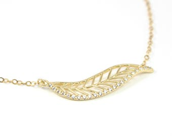 Pave Necklace, Gold Leaf Necklace, Dainty Gold Crystal Necklace, Gold Choker Necklace, Gold Pave Pendant Necklace, Delicate Pave Jewelry