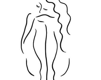 Black and white sitting nude sketch. Minimalist brush line art. Cute girl drawing. A3 - 11.7 x 16.5