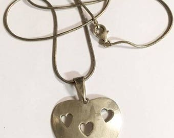 Vintage Taxco Sterling Silver Heart Pendant with Sterling Silver Chain