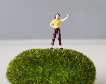 Miniature World Terrarium People Tiny Woman Yellow Pop Soda Can Summer HO Scale Hand painted One of a Kind Railroad Figure