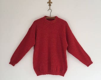 Vintage 80's Red and Gold Holiday Sweater M