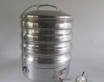 Aluminum Tiffin, Vintage Regal Ware, Lunch Bucket, Meal Carrier Picnic Pot Luck Glamping Camping Accessory Vertical Tiered Storage Take Out