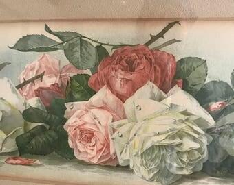 """Vintage Paul de Longpre Roses Print  - Yard Long Print  - 39-1/2"""" x 13-1/2"""" -Beautiful Roses Circa 1885"""