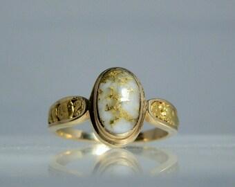 Vintage 14k Gold Nugget Ore Vein Quartz Cabochon Ring Size 8 DanPickedMinerals