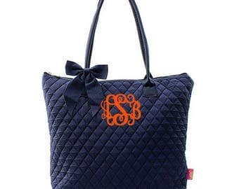 Monogram Quilted Tote Bag -Small Personalized Quilted Tote- Quilted Solid Navy Tote - Personalized Gift Tote Bag