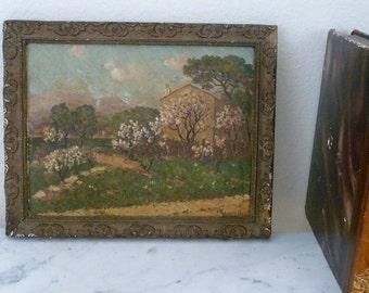 Vintage French Painting Impressionist Chateau House, Signed, Framed, Landscape on Cardboard, Wood Frame