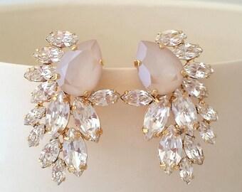Ivory cream earrings,Blush Bridal earrings,Blush ivory chandelier earrings,Extra large stud earring,Swarovski cluster earring,statement stud