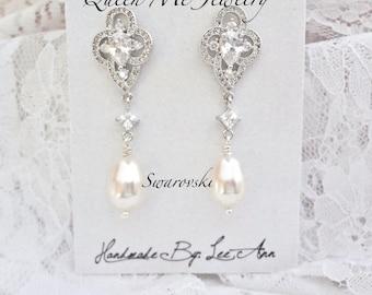 Pearl earrings, AAA+ Micro Cubic zirconia's, Lux, Wedding earrings, Swarovski pearl earrings, Brides pearl earrings ~ Pearl drop earrings