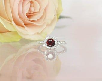 Garnet Ring, January Birthstone Ring, Garnet Halo RIng, Red Gemstone Ring, Gemstone Ring, Unique Gemstone Ring, Red Garnet Ring, Halo Ring