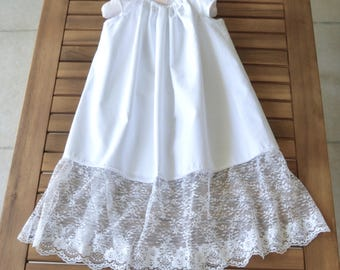 Baptism Christening gown baby dedication dress white cotton with lace and flutter sleeves