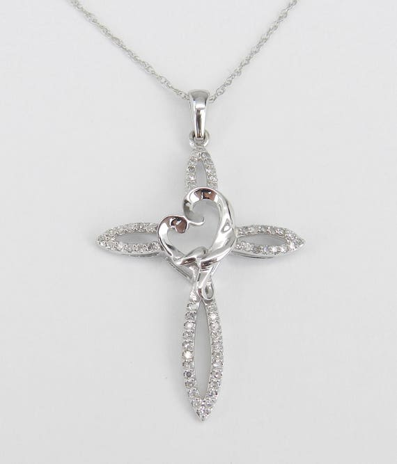 "Diamond Cross and Heart Pendant Necklace Religious Charm 18"" White Gold Chain"
