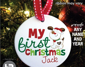 Dog christmas ornament - Personalized 1st Christmas Dog Ornament, Porcelain Christmas Ornament