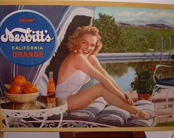 Drink Nesbitt's California Orange Soda Fountain Pop Poolside Pin Up Blonde Bathing Beauty Cardboard Advertising Display Rare Ephemera