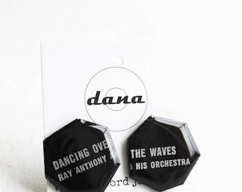 large post earrings black studs geometric studs statement earrings recycled earrings vinyl record studs bold jewelry music jewelry
