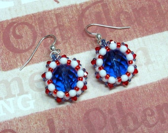 Sapphire Patriotic Earrings, 4th of July Earrings, Independence Day, Fourth of July Earrings, Swarovski Earrings, Patriotic Jewelry, Dangle