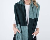 Knit Infinity scarf, Long winter scarf, Green circle scarf, Oversize knit scarf, Big man Cowl neck hoodie, Striped turtleneck scarves