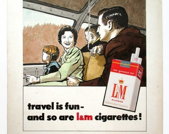 1960 L&M Cigarette Illustration, signed, dated, Original Art, Mid Century Modern, Tobacciana, Smoker, Cigar, LM,train travel