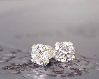 CZ Earrings - Sparkly Earrings - Wedding Studs - CZ Stud Earrings - Dainty Everyday Studs - Small Silver  Earrings - Cubic Zirconia Earrings