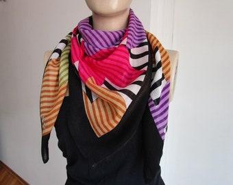 Colored Scarf, Turkish scarf, Square Scarf, Head Scarf, Stars, Yemeni Scarf, Turkish Traditional Scarf, Viscose Scarf, ColorfulStars
